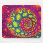 Psychedelic Spiral Neon Decorative Abstract Art Mousepad