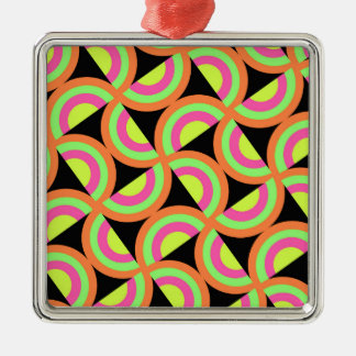 Psychedelic Squares Silver-Colored Square Decoration
