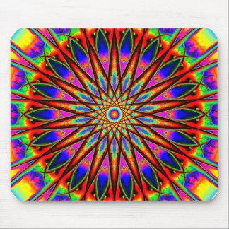 Psychedelic Star Mandala Mouse Mat