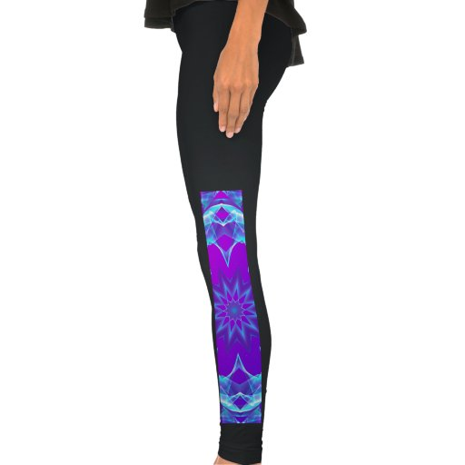 Psychedelic Stars, Abstract Violet Purple Glow Legging Tights