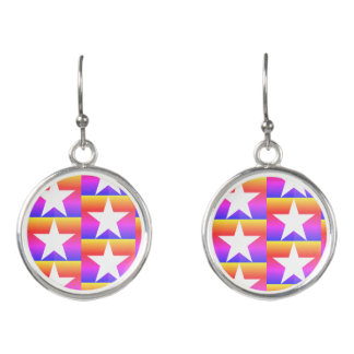 Psychedelic Stars and Stripes Earrings