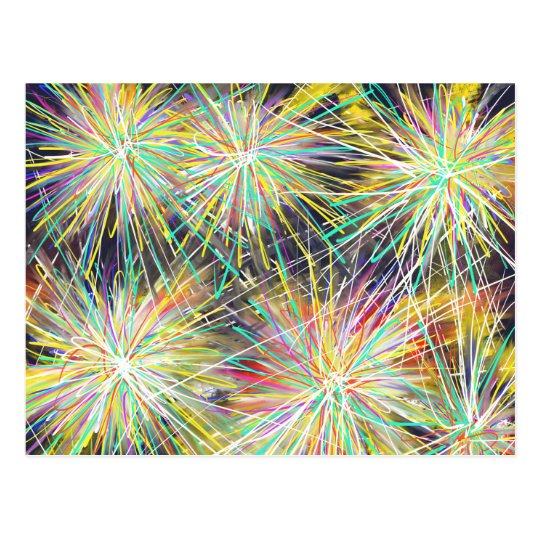 Psychedelic Stars Pattern Abstract Art Drawing Postcard