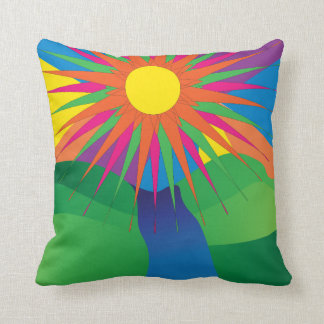 Psychedelic Sun Neon Landscape Cushion
