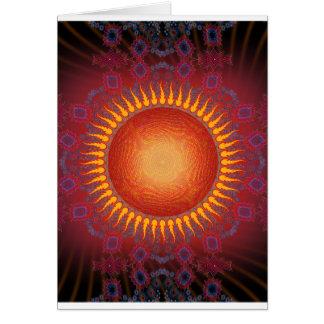 Psychedelic Sun: Spiral Fractal Design Card