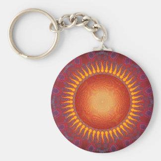 Psychedelic Sun: Spiral Fractal Design Key Ring