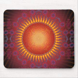 Psychedelic Sun Spiral Fractal Design Mousepad