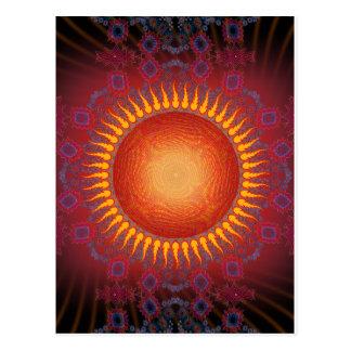 Psychedelic Sun: Spiral Fractal Design Postcard