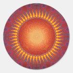 Psychedelic Sun: Spiral Fractal Design Round Sticker