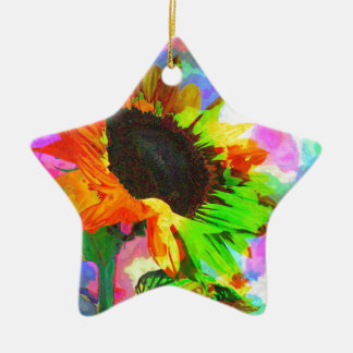 Psychedelic Sunflower Ceramic Star Decoration