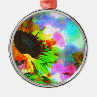 Psychedelic Sunflower Silver-Colored Round Decoration