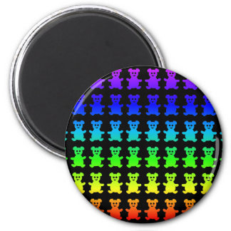 Psychedelic teddy bears. 6 cm round magnet