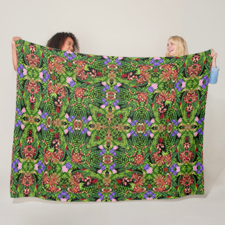 Psychedelic Tiger & Snake Jungle Mandala Quilt Fleece Blanket