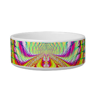 Psychedelic Topsy Turvy Thoughts Fractal Cat Water Bowls