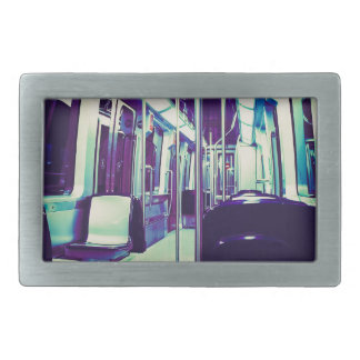 Psychedelic train trip rectangular belt buckle