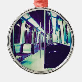Psychedelic train trip Silver-Colored round decoration