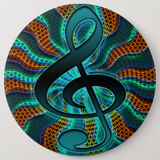 Psychedelic Treble Clef / G Clef Music Symbol 6 Cm Round Badge