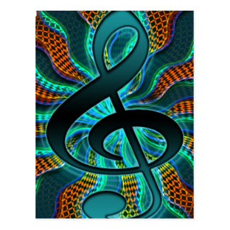 Psychedelic Treble Clef / G Clef Music Symbol Postcard