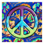 Psychedelic Trippy Purple Peace Sign