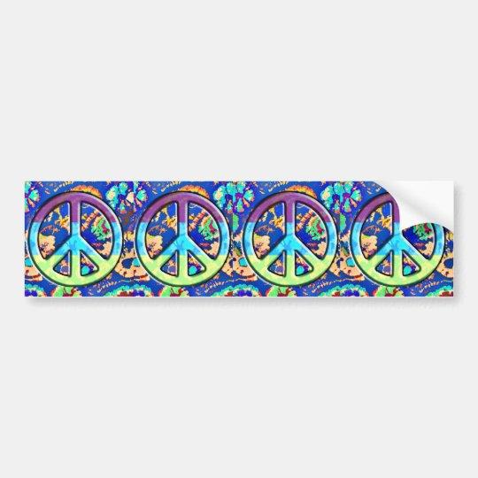 Psychedelic Trippy Purple Peace Sign Bumper Sticker