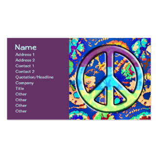 Psychedelic Trippy Purple Peace Sign Business Cards