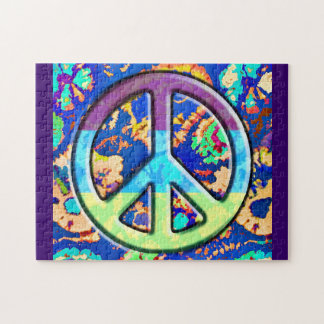 Psychedelic Trippy Purple Peace Sign Jigsaw Puzzle
