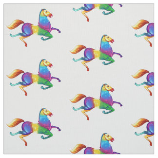 Psychedelic Trotting Horse Fabric