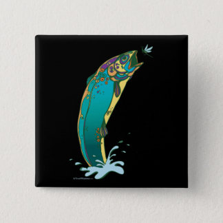 Psychedelic Trout Fishing 15 Cm Square Badge