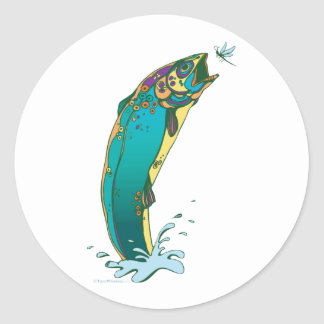 Psychedelic Trout Fishing Classic Round Sticker