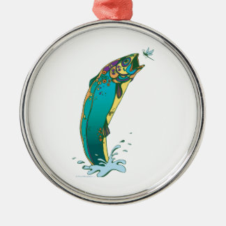 Psychedelic Trout Fishing Silver-Colored Round Decoration