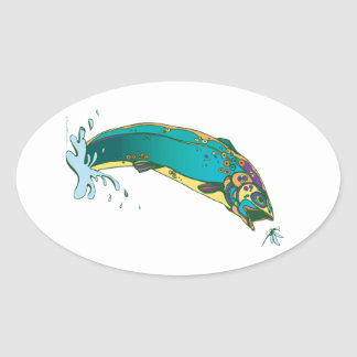 Psychedelic Trout Fishing Sticker