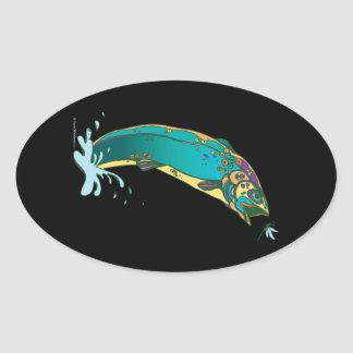 Psychedelic Trout Fishing Oval Stickers
