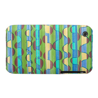 Psychedelic turquoise green Swirls iPhone 3 Covers
