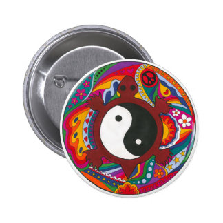 Psychedelic Turtle Yin Yang 6 Cm Round Badge