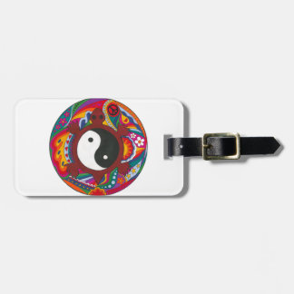 Psychedelic Turtle Yin Yang Luggage Tag