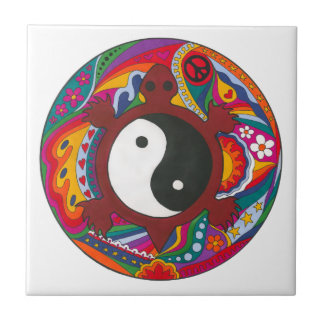 Psychedelic Turtle Yin Yang Small Square Tile