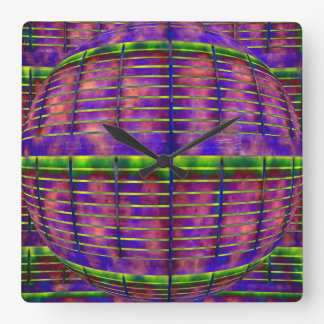 Psychedelic UFO Square Wall Clock