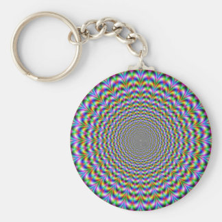 Psychedelic Web Basic Round Button Key Ring