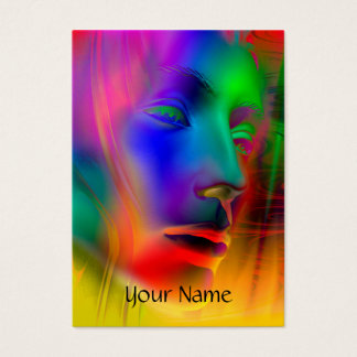 Psychedelic Woman Face + your text Business Card