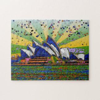 Psychedelic World: Sydney Australia Skyline A2 Jigsaw Puzzle