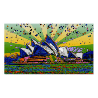 Psychedelic World: Sydney Australia Skyline A2 Pack Of Standard Business Cards