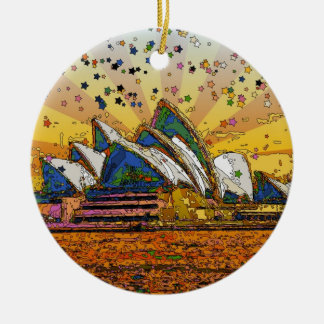 Psychedelic World: Sydney Skyline A1 Christmas Ornament