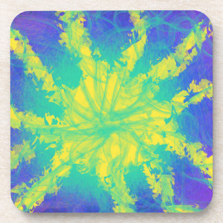 Psychedelic Yellow Aqua Star Abstract Art Design Coaster