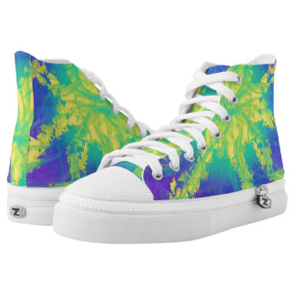 Psychedelic Yellow Aqua Star Abstract Art Design High Tops