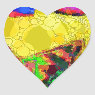 Psychedelic Yellow Blue Red Abstract Pattern Heart Sticker
