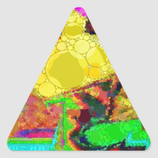 Psychedelic Yellow Blue Red Abstract Pattern Triangle Sticker