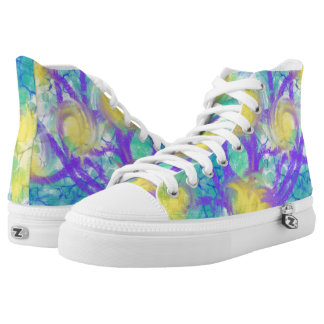 Psychedelic Yellow Flowers Abstract Art Design High Tops