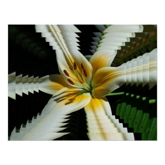 Psychedelic Yellow Lily Poster