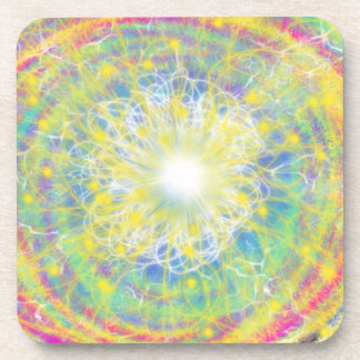 Psychedelic Yellow Star Abstract Art Design Coaster