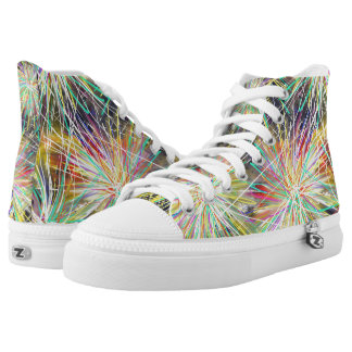 Psychedelic Yellow Star Funky Abstract Art Design High Tops