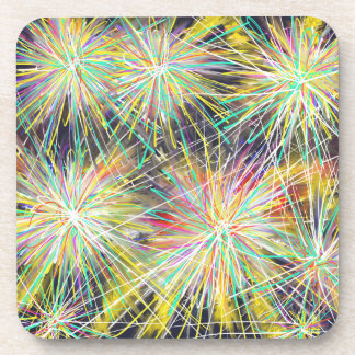 Psychedelic Yellow Stars Abstract Art Drawing Coaster